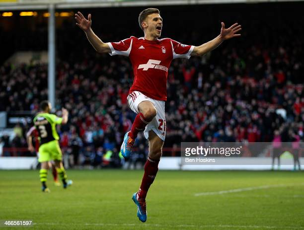 Jamie Paterson of Nottingham Forest celebrates after scoring the opening goal of the game during the Sky Bet Championship match between Nottingham...