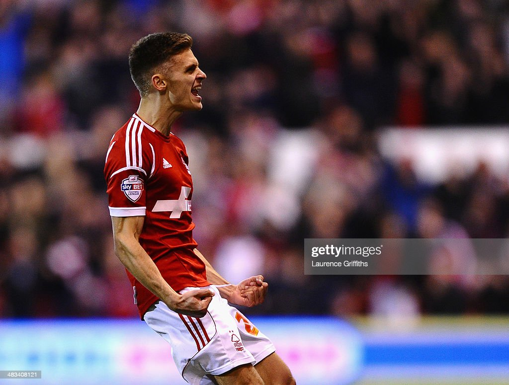 Jamie Paterson of Nottingham Forest celebrates scoring the equalising goal during the Sky Bet Championship match between Nottingham Forest and Sheffield Wednesday at City Ground on April 8, 2014 in Nottingham, England.