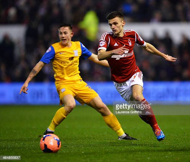 Jamie Paterson of Nottingham Forest evades Josh Brownhill of Preston North End during the FA Cup with Budweiser Fourth round match between Nottingham...