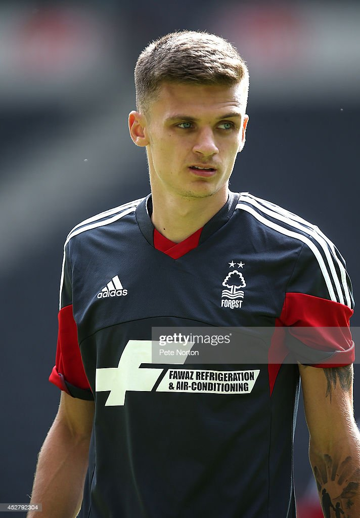 Jamie Paterson of Nottingham Forest in action during the Pre-Season Friendly match between MK Dons and Nottingham Forest at Stadium mk on July 27, 2014 in Milton Keynes, England.