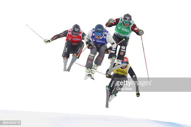 Jamie Pebble of New Zealand leads Brady Leman of Canada Francois Place of Frace and Siegmar Klotz of Italy during the Men's Ski Cross Finals on day...