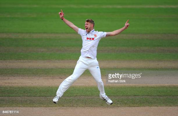 Jamie Porter of Essex appeals during the County Championship Division One match between Warwickshire and Essex at Edgbaston on September 14 2017 in...
