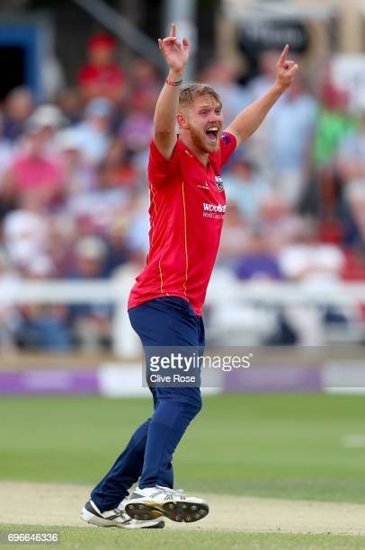 Jamie Porter of Essex appeals during the Royal London OneDay Cup Semi Final between Essex and Nottinghamshire at Cloudfm County Ground on June 16...