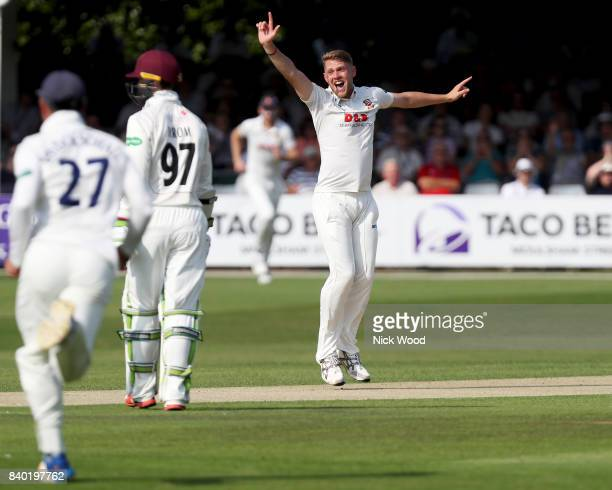 Jamie Porter of Essex appeals for a wicket during the Essex v Somerset Specsavers County Championship Division One cricket match at the Cloudfm...