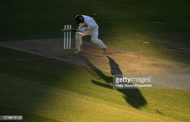 Jamie Porter of Essex avoids a bouncer late on during the third day of the Bob Willis Trophy Final between Somerset and Essex at Lord's Cricket...