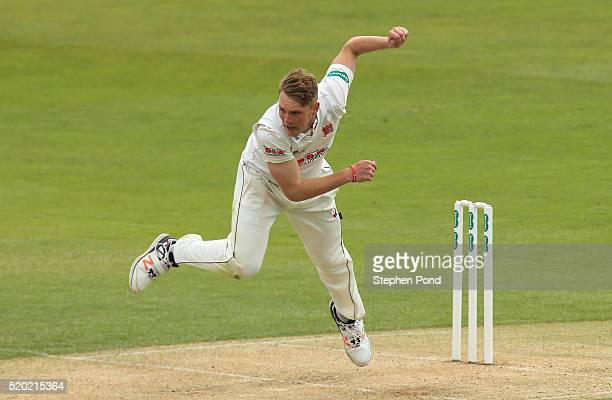 Jamie Porter of Essex bowls during day one of the Specsavers County Championship match between Essex and Gloucestershire at the Ford County Ground on...