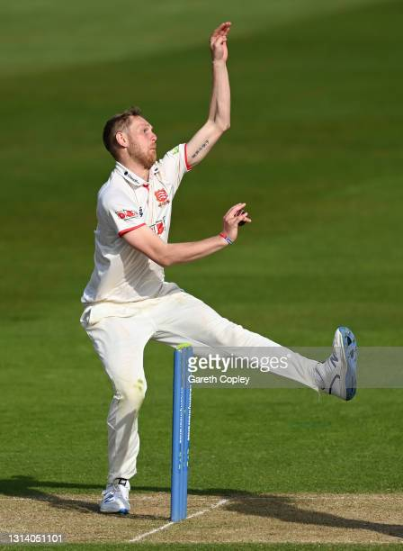 Jamie Porter of Essex bowls during the LV= Insurance County Championship match between Warwickshire and Essex at Edgbaston on April 23, 2021 in...