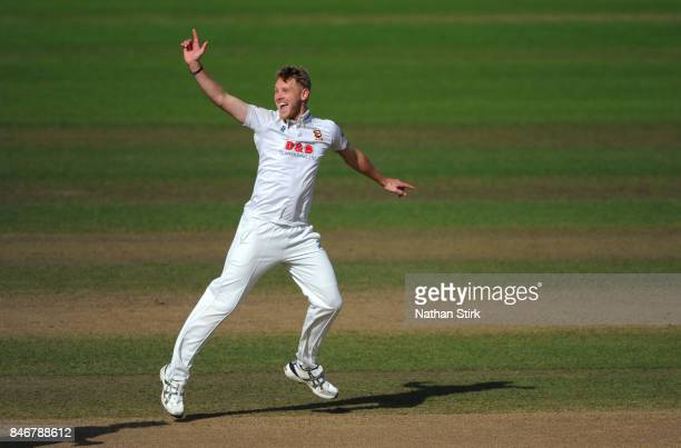 Jamie Porter of Essex celebrates after getting Sam Hain of Warwickshire out during the County Championship Division One match between Warwickshire...