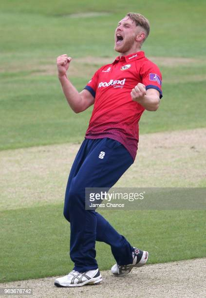 Jamie Porter of Essex celebrates dismissing Colin Ingram of Glamorgan with LBW during the Royal London One-Day Cup match between Essex and Glamorgan...