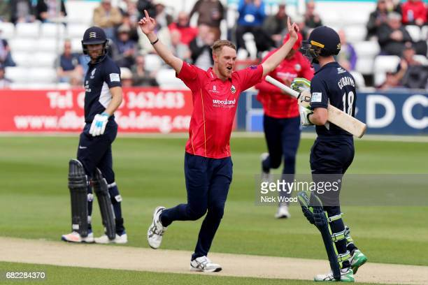 Jamie Porter of Essex celebrates taking the wicket of Nick Gubbins during the Royal London OneDay Cup between Essex Eagles and Middlesex at Cloudfm...