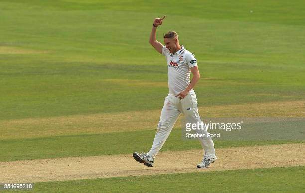 Jamie Porter of Essex celebrates the wicket of Kraigg Brathwaite of Yorkshire during day three of the Specsavers County Championship Division One...