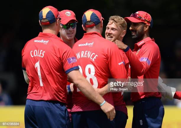 Jamie Porter of Essex Eagles is congratulated after the dismissal of Tom KohlerCadmore of Yorkshire Vikings during the Royal London OneDay Cup match...