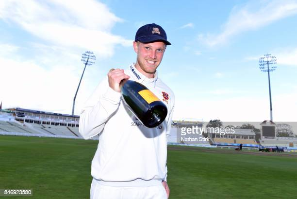 Jamie Porter of Essex is named man of the match during the County Championship Division One match between Warwickshire and Essex at Edgbaston on...