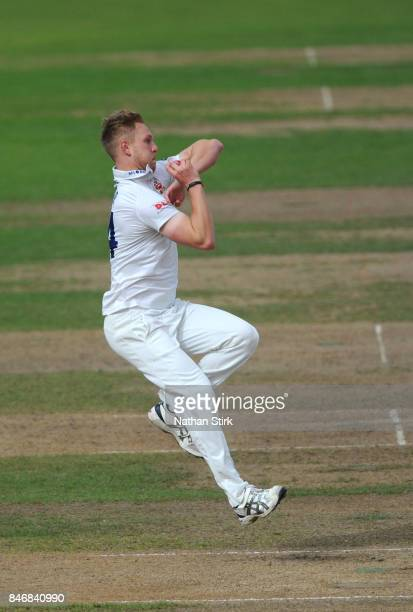 Jamie Porter of Essex runs into bowl during the County Championship Division One match between Warwickshire and Essex at Edgbaston on September 14...
