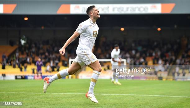 Jamie Proctor of Port Vale celebrates after he scores their first goal during the Sky Bet League Two match between Port Vale and Rochdale at Vale...