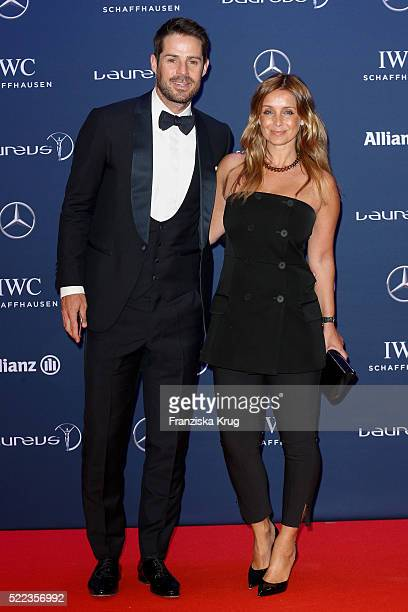 Jamie Redknapp and Louise Redknapp attend the Laureus World Sports Awards 2016 at the Messe Berlin on April 18 2016 in Berlin Germany