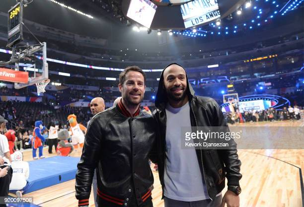 Jamie Redknapp and Thierry Henry attend the NBA AllStar Game 2018 at Staples Center on February 18 2018 in Los Angeles California