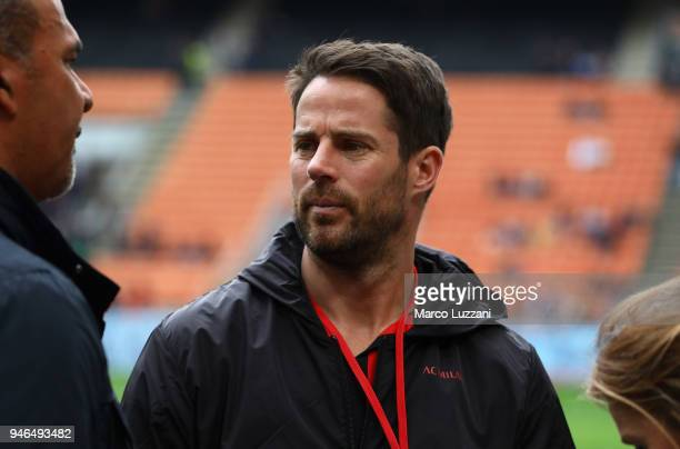 Jamie Redknapp before the serie A match between AC Milan and SSC Napoli at Stadio Giuseppe Meazza on April 15 2018 in Milan Italy