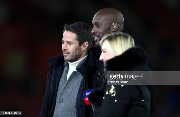 Jamie Redknapp Carlton Cole and Kelly Cates during the Premier League match between Southampton FC and West Ham United at St Mary's Stadium on...