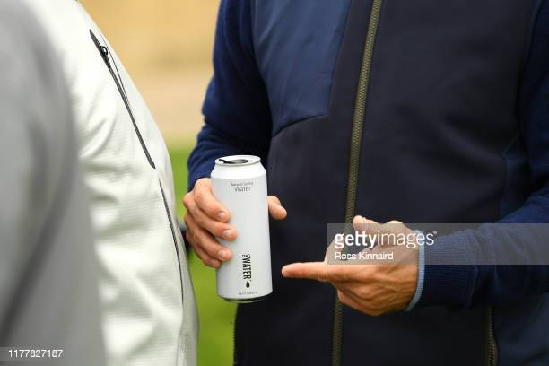 Jamie Redknapp drinks a can of water during Day four of the Alfred Dunhill Links Championship at The Old Course on September 29 2019 in St Andrews...
