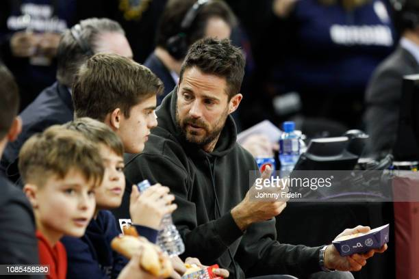 Jamie Redknapp former player and his son Charley William Redknapp prior the NBA game against Washington Wizards and New York Knicks at The O2 Arena...