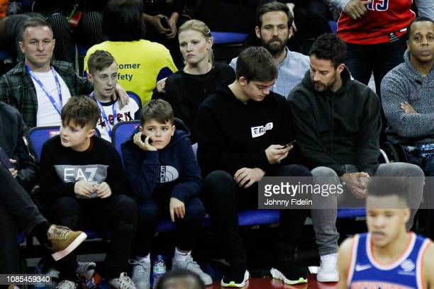 Jamie Redknapp former players and his son Charles William Redknapp during the NBA game against Washington Wizards and New York Knicks at The O2 Arena...