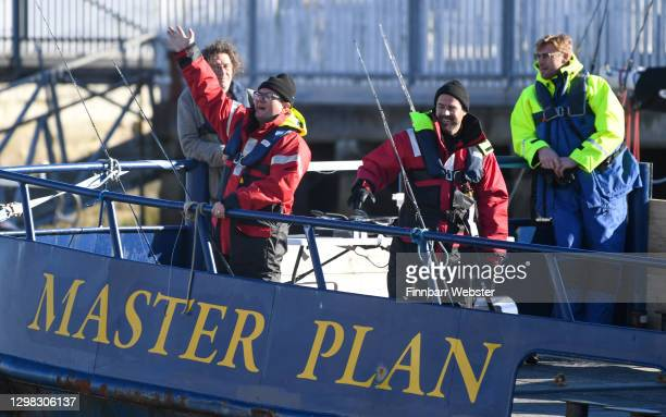 Jamie Redknapp, Freddie Flintoff, Alan Carr and Marco Pierre-White film A League of Their Own at Weymouth Harbour on January 25, 2021 in Weymouth,...