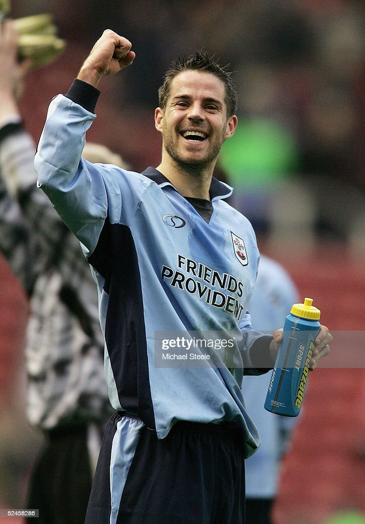Jamie Redknapp of Southampton celebrates his side's 3-1 victory at the final whistle with Nigel Quashie during the Barclays Premiership match between Middlesbrough and Southampton at the Riverside Stadium on March 20, 2005 in Middlesbrough, England