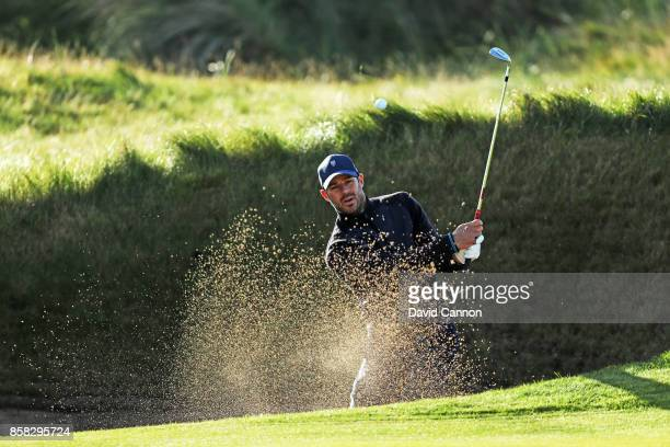 Jamie Redknapp the former England and Liverpool football player plays a shot on the second hole during the second round of the 2017 Alfred Dunhill...