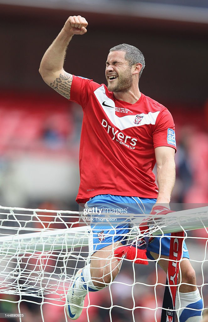 Jamie Reed of York City celebrates promotion to the football league during the Blue Square Bet Premier League Play Off Final at Wembley Stadium on May 20, 2012 in London, England.