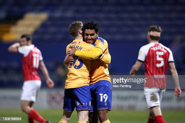 Jamie Reid of Mansfield Town celebrates after scoring their sides second goal during the Sky Bet League Two match between Mansfield Town and...