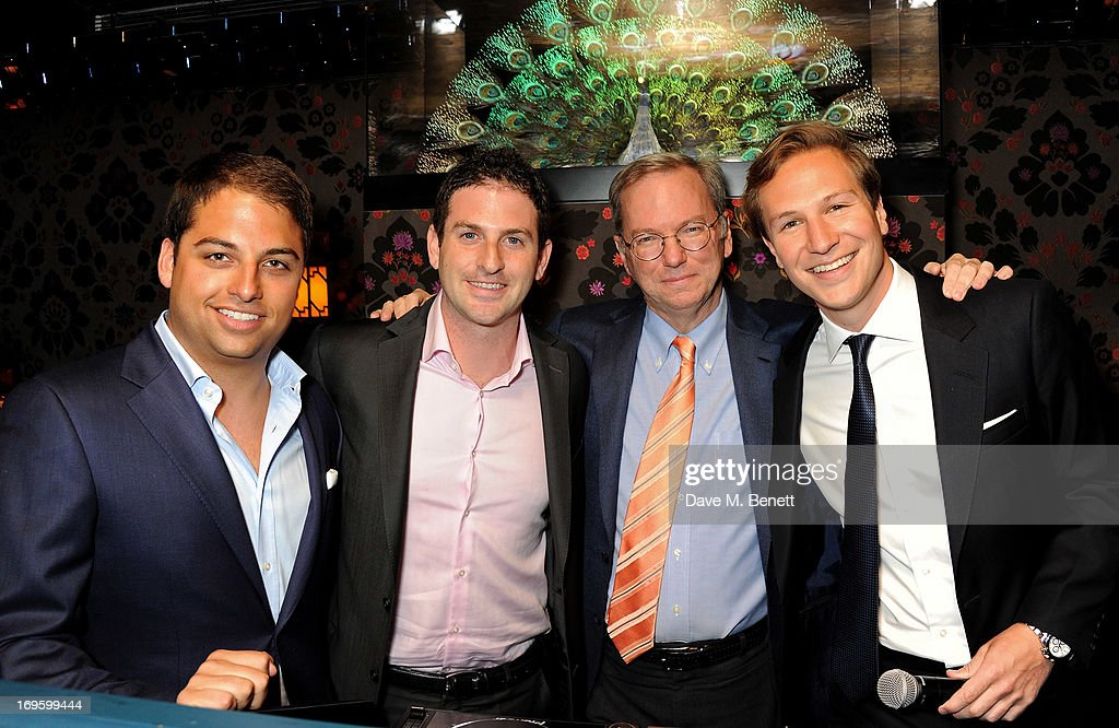 Jamie Reuben, Director of Google Ideas Jared Cohen, Executive Chairman of Google Eric Schmidt and Dave Clark attend the launch of 'The New Digital Age: Reshaping The Future Of People, Nations and Business' by Eric Schmidt and Jared Cohen, hosted by Jamie Reuben, at Loulou's on May 28, 2013 in London, England.