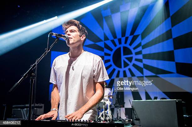 Jamie Righton of Klaxons performs on stage during the bands last ever UK show at Shepherds Bush Empire on November 4 2014 in London United Kingdom