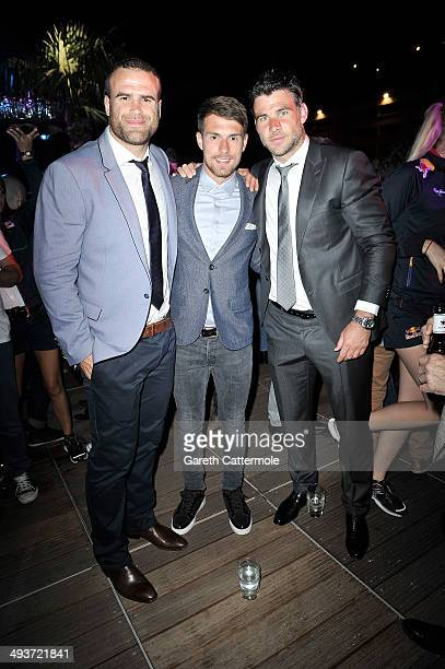 Jamie Roberts Aaron Ramsey and Mike Phillips onboard the Red Bull Energy Station ahead of the Monaco Formula One Grand Prix at Circuit de Monaco on...