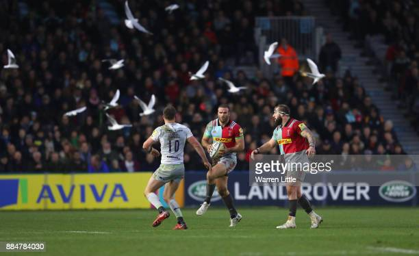 Jamie Roberts of Harlequins in action during the Aviva Premiership match between Harlequins and Saracens at Twickenham Stoop on December 3 2017 in...