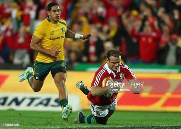 Jamie Roberts of the Lions scores a try during the International Test match between the Australian Wallabies and British Irish Lions at ANZ Stadium...