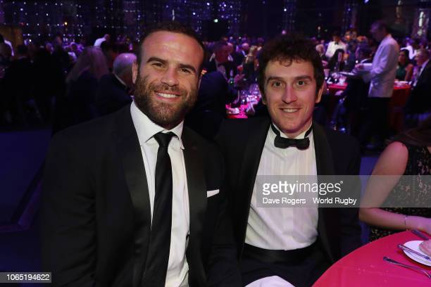 Jamie Roberts of Wales and cyclist Geraint Thomas attend the World Rugby via Getty Images Awards 2018 at the MonteCarlo Sporting Club on November 25...