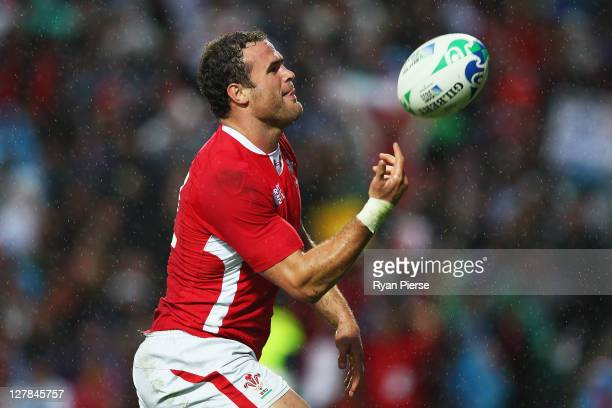 Jamie Roberts of Wales celebrates after scoring their fifth try during the IRB Rugby World Cup Pool D match between Wales and Fiji at Waikato Stadium...