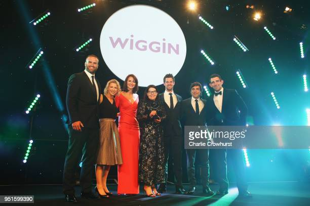 Jamie Roberts present the Brand of the Year award in association with Wiggin to Adidas UK during the BT Sport Industry Awards 2018 at Battersea...