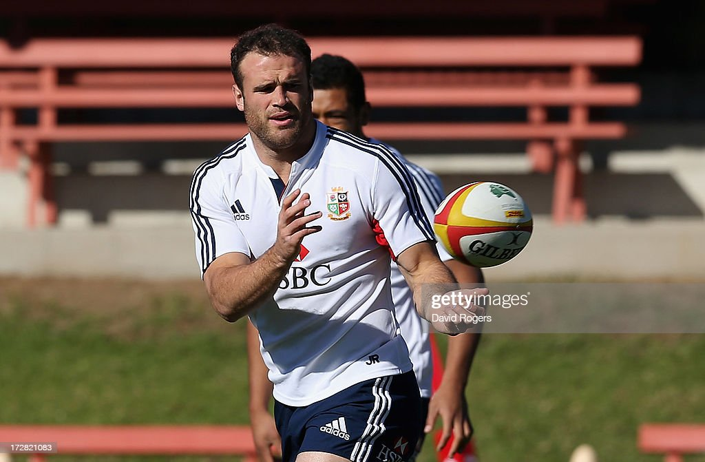Jamie Roberts, the Lions centre, passes the ball during the British and Irish Lions Captain's Run at North Sydney Oval on July 5, 2013 in Sydney, Australia.