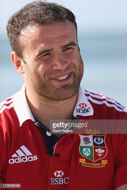 Jamie Roberts who will play at centre for the British and Irish Lions in the third and final test against the Wallabies talks to the media on Noosa...
