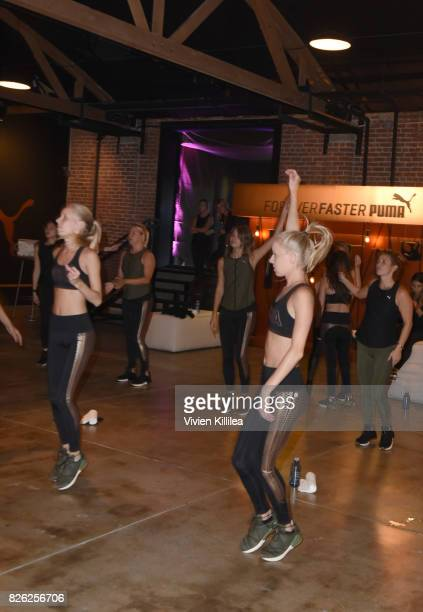 Jamie Schuppert and Kristin Schuppert attend PUMA Hosts CAMP PUMA To Launch Their Newest Women's Collection Velvet Rope at Goya Studios on August 3...