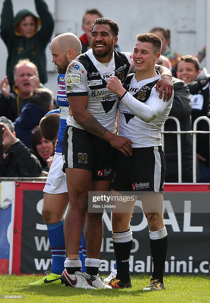 Jamie Shaul of Hull FC celebrates scoring his try with Fetuli Talanoa during the First Utility Super League match between Wakefield Wildcats and Hull FC at The Rapid Solicitors Stadium on April 24, 2016 in Wakefield, England.