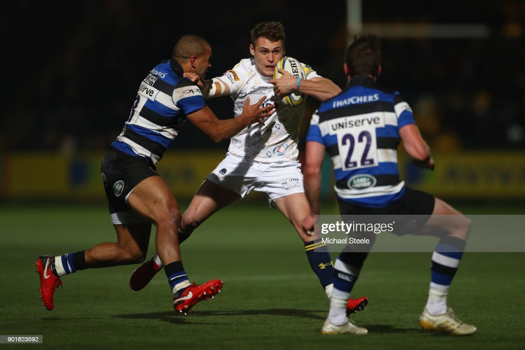 Jamie Shillcock of Worcester is tackled by Jonathan Joseph of Bath during the Aviva Premiership match between Worcester Warriors and Bath Rugby at Sixways Stadium on January 5, 2018 in Worcester, England.