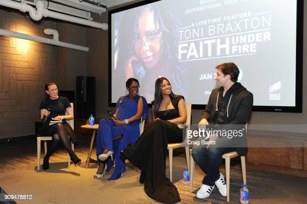"""Jamie Singer, Antoinette Tuff, Toni Braxton and Trevor Morgan attend Lifetime""""s Film,""""Faith Under Fire: The Antoinette Tuff Story"""" red carpet..."""