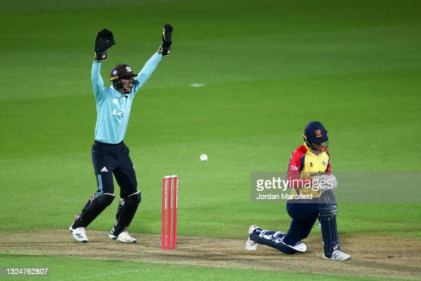 Jamie Smith of Surrey appeals unsuccessfully for the wicket of Will Buttleman of Essex Eagles during the Vitality T20 Blast match between Surrey and...