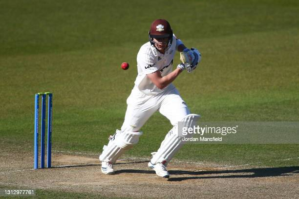 Jamie Smith of Surrey bats during day three of the LV= Insurance County Championship match between Surrey and Leicestershire at The Kia Oval on April...