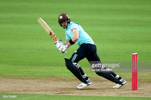 Jamie Smith of Surrey bats during the Vitality T20 Blast match between Surrey and Essex Eagles at The Kia Oval on June 21, 2021 in London, England.