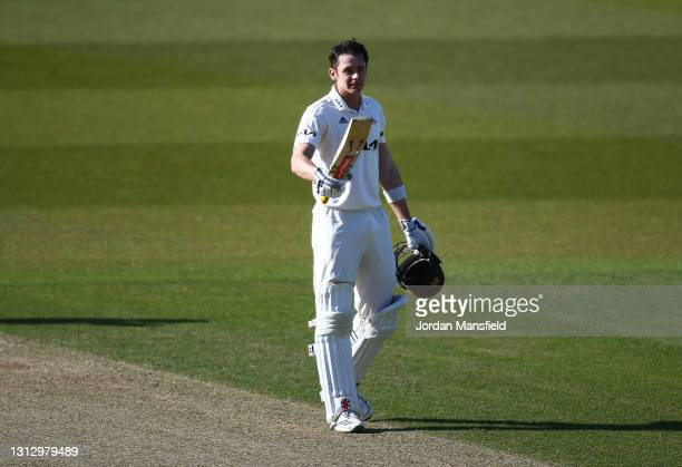 Jamie Smith of Surrey celebrates his century during day three of the LV= Insurance County Championship match between Surrey and Leicestershire at The...