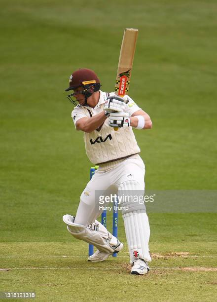 Jamie Smith of Surrey plays a shot during Day Three of the LV= Insurance County Championship match between Somerset and Surrey at The Cooper...